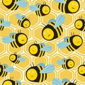 Happy bees and honeycombs, colorful seamless pattern. Decorative cute background with insects
