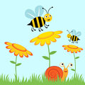 Happy bees and snail Royalty Free Stock Photography