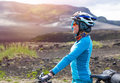 Happy biker relax in beautiful nature. Travel and sport picture