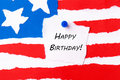 Happy birhtday note with birthday on an american flag background Royalty Free Stock Photos