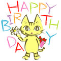 Happy birth day cat cute birthday card design banner Royalty Free Stock Photo