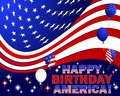 Happy birthday america independence day text and balloons with the pattern of the american flag Stock Image