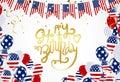 Happy birthday America lettering Hand drawn invitation design c