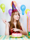 Happy birthday. Attractive young girl with cake Royalty Free Stock Photography