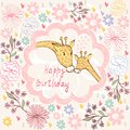 Happy birthday baby giraffe and mom hand drawn illustration Stock Photography
