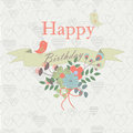 Happy birthday background with cute birds ribbon bow and flowers in cartoon style Royalty Free Stock Images