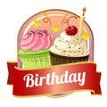 Happy birthday badge with cupcakes Royalty Free Stock Photo
