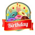 Happy birthday badge with donut tower Royalty Free Stock Photo