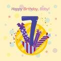 Happy birthday badge vector icon. Royalty Free Stock Photo