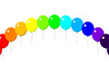 Happy birthday balloon rainbow on the white background Stock Images