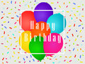 Happy birthday balloons and confetti. Greeting card template. Celebratory banner. Vector