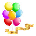 Happy birthday balloons with ribbon Stock Image