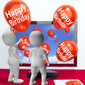 Happy Birthday Balloons Show Festivities and Invitations Online Stock Photos