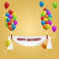 Happy Birthday. Banner with balloons Stock Image