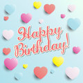 Happy birthday birthday card illustration with blue background and colorful hearts Stock Photography