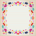 Happy birthday border lined paper card with space for text Royalty Free Stock Image