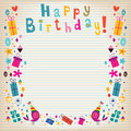 Happy birthday border lined paper retro card Stock Photo