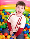 Happy birthday of  boy in color balls. Royalty Free Stock Photo