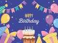 Happy birthday, cake candles gifts balloons hats celebration poster Royalty Free Stock Photo
