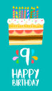 Happy Birthday cake card for 9 nine year party