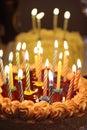 Happy birthday cake with few taper Royalty Free Stock Photo
