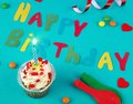 Happy birthday cake in holiday atmosphere Stock Photo