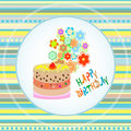 Happy birthday cakes flower design Royalty Free Stock Photography