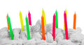 Happy birthday candles colorful in cake isolated on white background Royalty Free Stock Photography