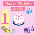Happy Birthday Card 1 year old Royalty Free Stock Photo