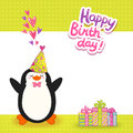 Happy Birthday card background with cute penguin. Royalty Free Stock Photo