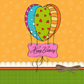 Happy birthday card with balloons. Royalty Free Stock Photography