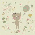 Happy birthday card birghday greeting with cute cat with balloon and bird in cartoon style Stock Image