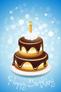 Happy birthday card with cake and one candle Royalty Free Stock Photography