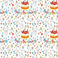 Happy birthday card. Cartoon funny bird on a string. Royalty Free Stock Photo