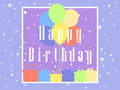 Happy Birthday card celebration banner. Balloons and gifts. Vector