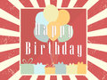 Happy Birthday card celebration banner. Festive retro poster. Balloons and gifts. Vector