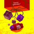 Happy birthday card children anniversary vector illustration with gift boxes presents Stock Image