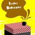 Happy birthday card children anniversary vector illustration with hot chocolate on table Stock Photo