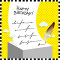 Happy birthday card children anniversary vector illustration quill writing a message Royalty Free Stock Images