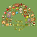 Happy Birthday card with childrens icon set - toys, sweets.