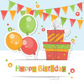 Happy birthday card colorful illustration of balloons gift and garland of flags Stock Photography