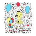 Happy birthday card colorful vector background c with cute cartoon style characters . Vector illustration