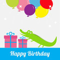 Happy Birthday card with cute alligator, giftbox, balloons. Baby background. Flat design