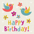 Happy birthday card with cute birds vector illustration Royalty Free Stock Photos