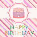 Happy birthday card with cute cake. vector Stock Photo