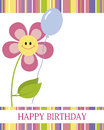 Happy birthday card with cute flower Stock Images