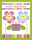 Happy birthday card with cute flowers Royalty Free Stock Photography