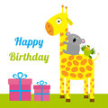 Happy Birthday card with cute giraffe, koala and parrot. Giftbox set Baby background Flat design