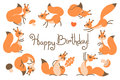 Happy Birthday card with cute squirrels in a cartoon style.