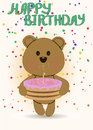 Happy birthday card with cute teddy bear embracing cake Stock Images